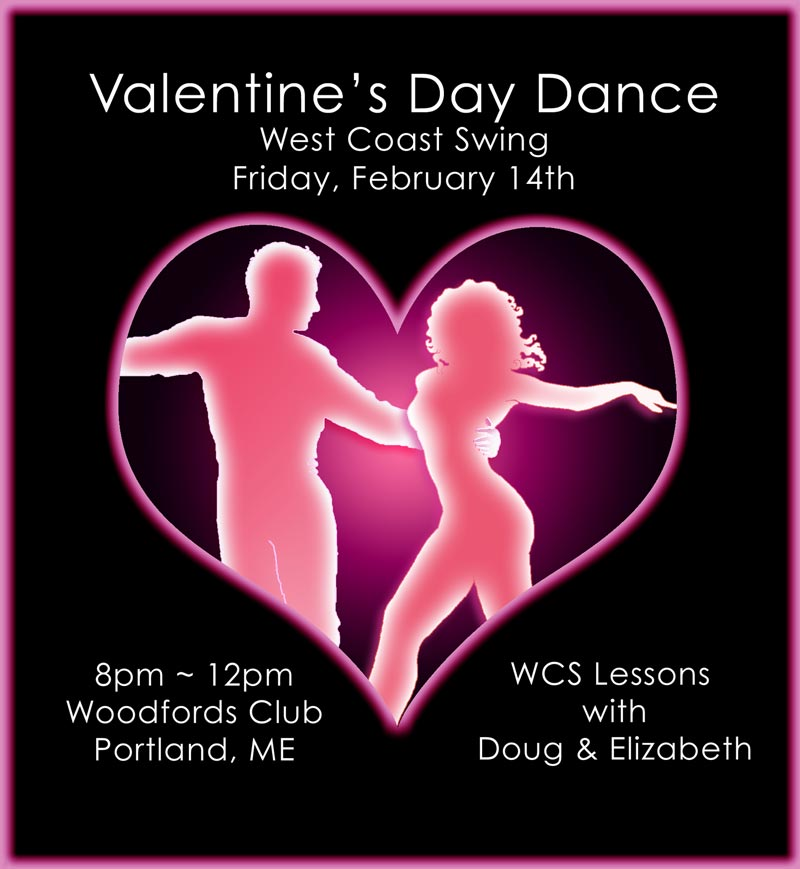 West Coast Swing Event Poster Valentine's day